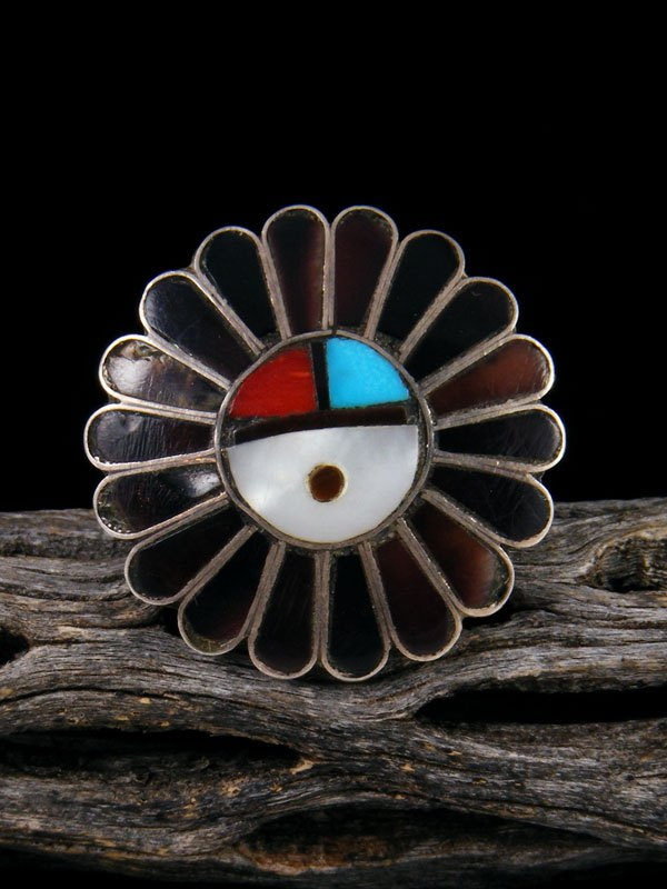 Estate Native American Sterling Silver Zuni Inlay Sunface Ring, Size 5