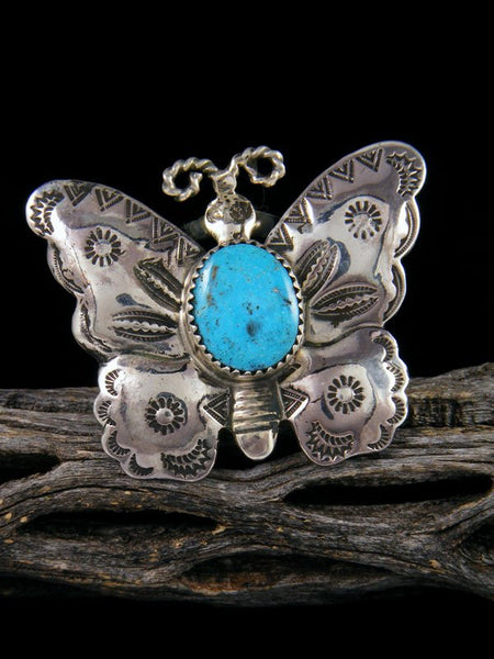 Estate Native American Sterling Silver Turquoise Butterfly Ring, Size 9 1/2