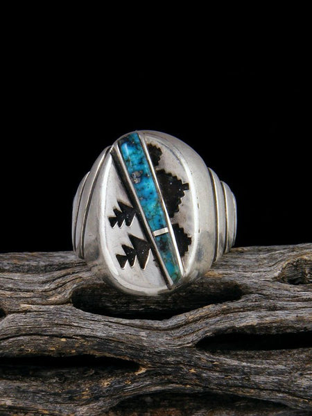 Vintage Native American Sterling Silver Turquoise Inlay Ring, Size 9 1/2