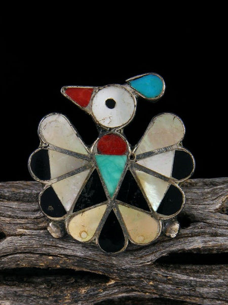 Vintage Native American Sterling Silver Zuni Inlay Thunderbird Ring, Size 8