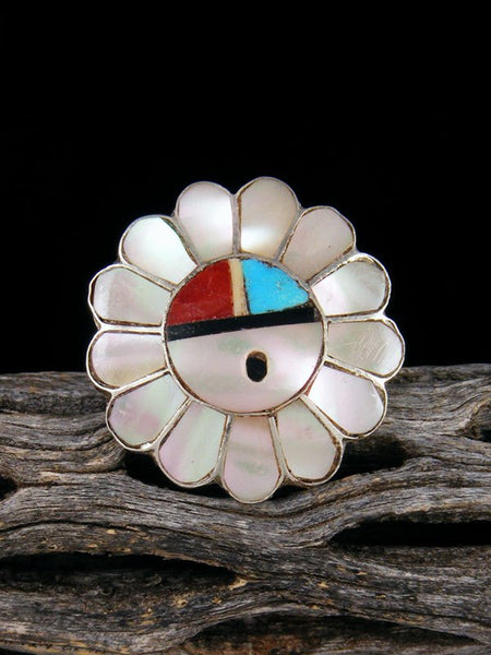 Vintage Native American Sterling Silver Zuni Inlay Sunface Ring, Size 7