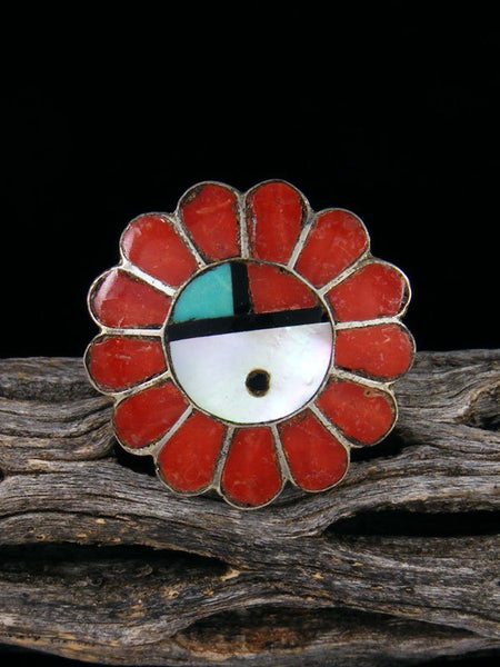 Vintage Native American Sterling Silver Zuni Inlay Sunface Ring, Size 6
