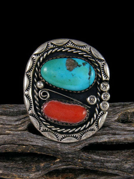 Estate Native American Sterling Silver Turquoise and Coral Ring, Size 12