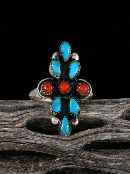 Estate Native American Sterling Silver Turquoise and Coral Ring, Size 6 1/2