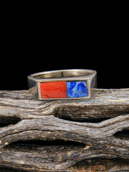 Estate Coral and Lapis Inlay Ring, Size 7 1/2