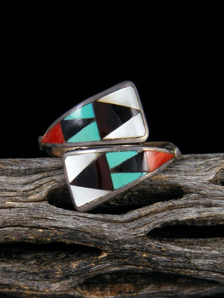 Estate Native American Sterling Silver Zuni Inlay Adjustable Ring, Size 7 1/2+
