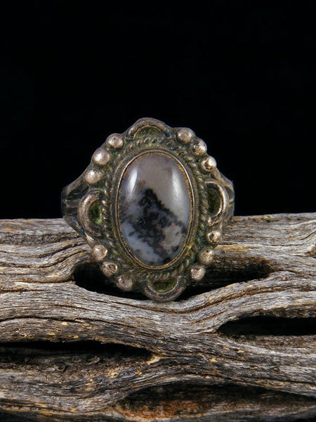 Old Pawn Native American Sterling Silver Petrified Wood Ring, Size 7 1/2