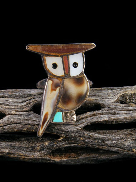 Estate Native American Sterling Silver Zuni Inlay Owl Ring, Size 6 1/2