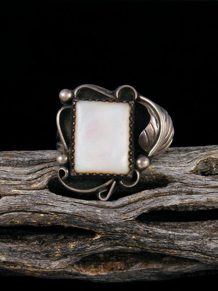 Estate Native American Sterling Silver Mother of Pearl Ring, Size 6 1/2