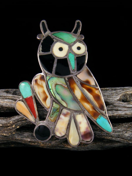 Old Pawn Native American Sterling Silver Zuni Inlay Owl Ring, Size 7 1/2