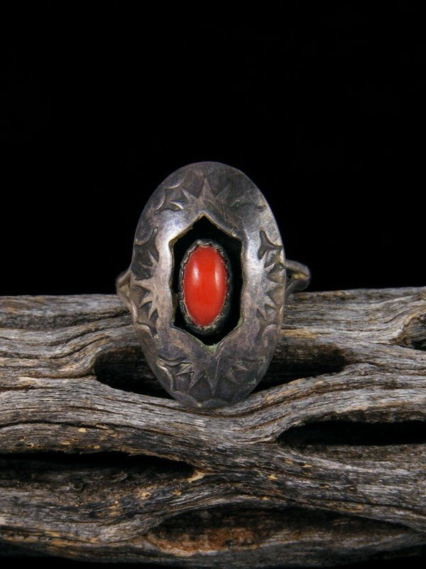 Estate Native American Sterling Silver Coral Ring, Size 5
