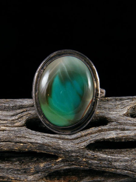 Vintage Native American Sterling Silver Agate Ring, Size 8.5
