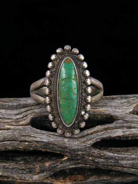 Estate Native American Sterling Silver Turquoise Ring, Size 6 1/2