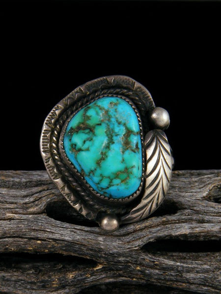 Old Pawn Native American Sterling Silver Turquoise Ring, Size 10 1/2