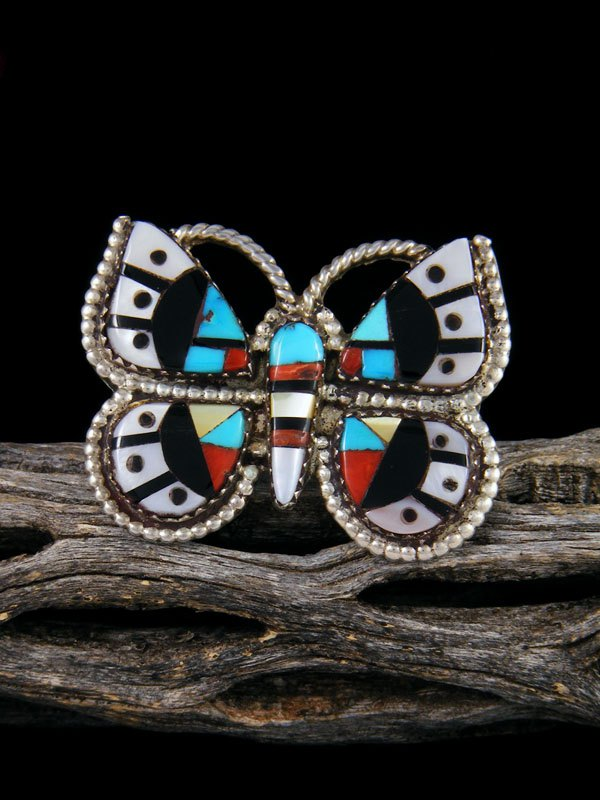 Estate Native American Sterling Silver Zuni Inlay Butterfly Ring, Size 5