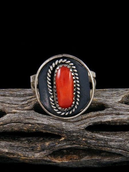 Estate Native American Sterling Silver Coral Ring, Size 8 1/2
