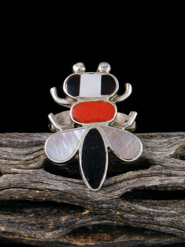 Vintage Native American Sterling Silver Zuni Inlay Bee Ring, Size 6 1/2