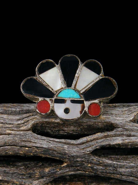 Estate Native American Sterling Silver Zuni Inlay Sunface Ring, Size 9