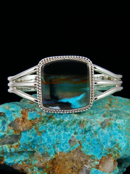 Native American Jewelry Blue Opalized Petrified Wood Sterling Silver Cuff Bracelet
