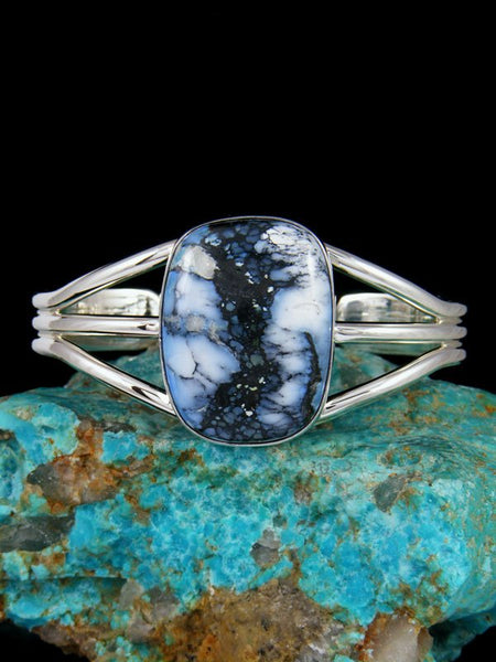 Native American Indian Jewelry Sterling Silver Wild Blue Bracelet