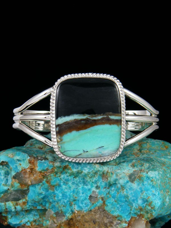 Native American Blue Opalized Petrified Wood Sterling Silver Cuff Bracelet