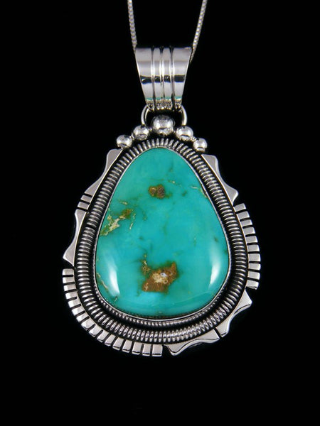 Native American Stone Mountain Turquoise Sterling Silver Pendant