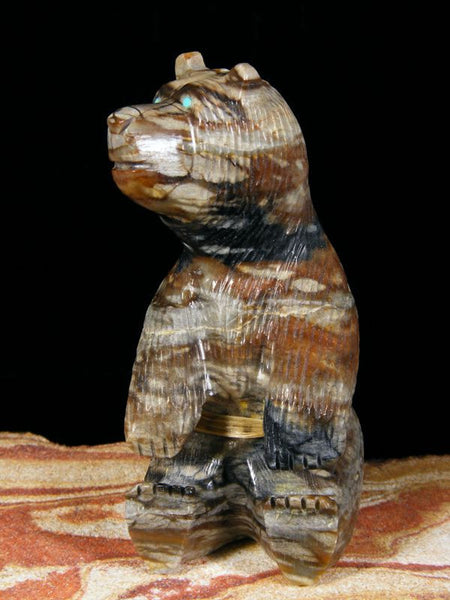 Picasso Marble Bear Zuni Fetish by Farlon Quam - PuebloDirect.com - 1