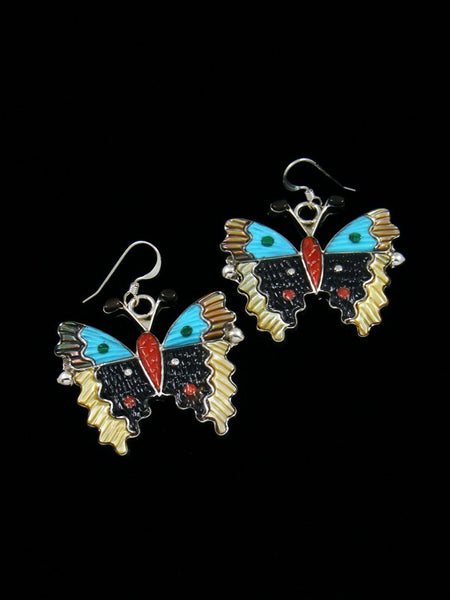 Turquoise and Penn Shell Zuni Butterfly Dangle Earrings