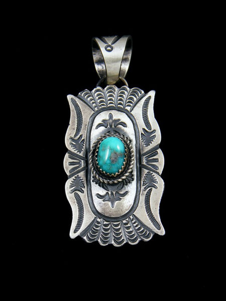 Sterling Silver Turquoise Navajo Stamped Pendant