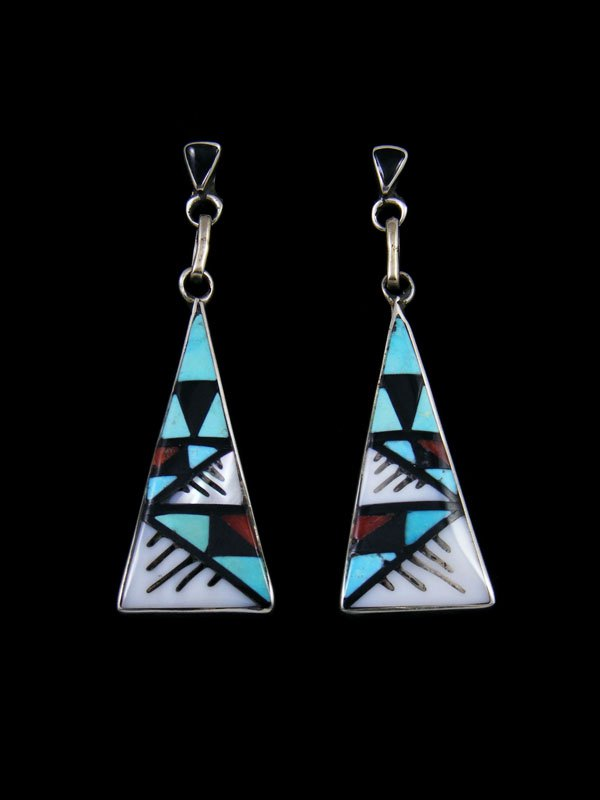 Zuni Turquoise and Coral Inlay Post Earrings