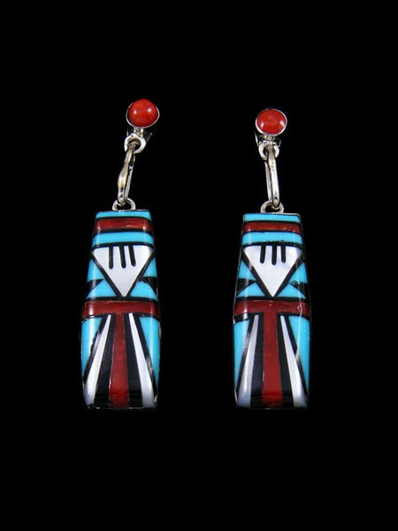 Turquoise and Coral Zuni Inlay Sterling Silver Post Earrings
