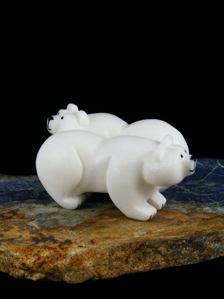 Side by Side Bear Couple White Marble Zuni Fetish