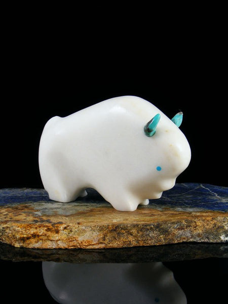 White Marble Buffalo Zuni Fetish Carving