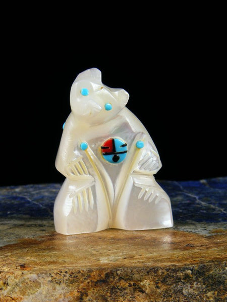 Mother of Pearl Bear Zuni Fetish