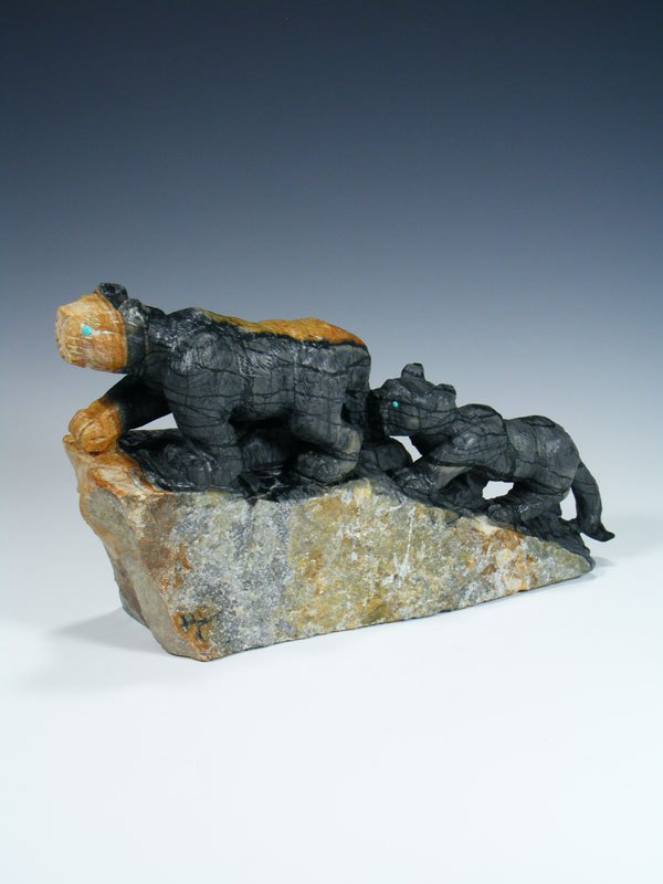 Large Picasso Marble Mountain Lion Family Zuni Fetish