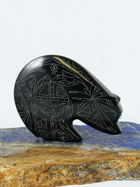 Black Marble Bear Zuni Fetish