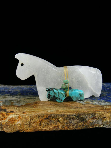 Selenite and Turquoise Horse Family Zuni Fetish