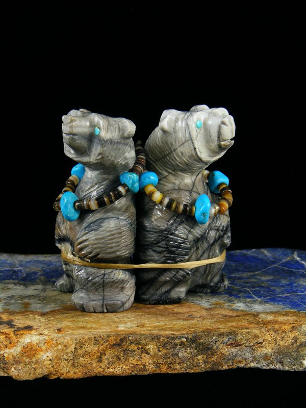 Picasso Marble Double Bear Zuni Fetish