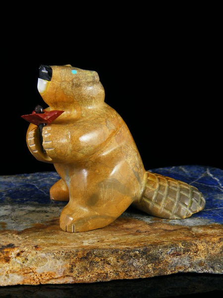 """Be Mine"" Travertine Beaver Zuni Fetish Carving"