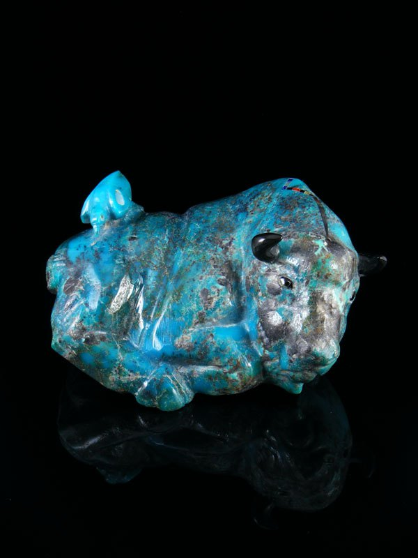 Large Turquoise Buffalo With Bird  Zuni Fetish