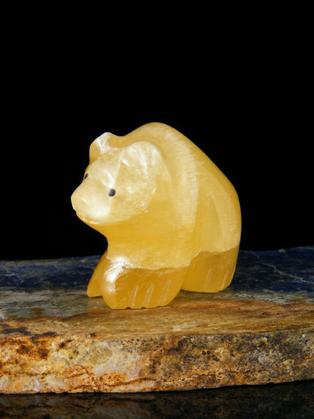 Honey Calcite Bear Zuni Fetish