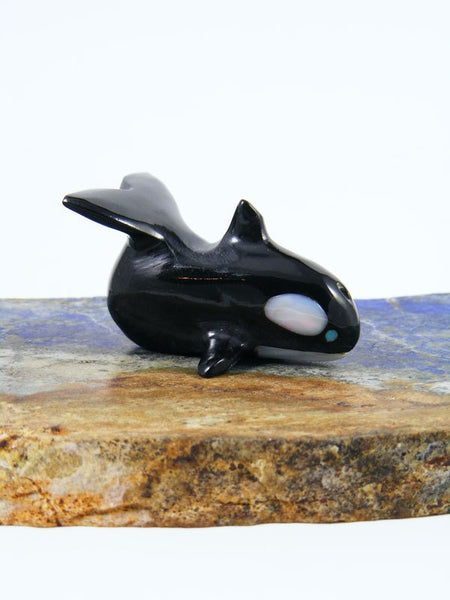Black Marble Whale Zuni Fetish