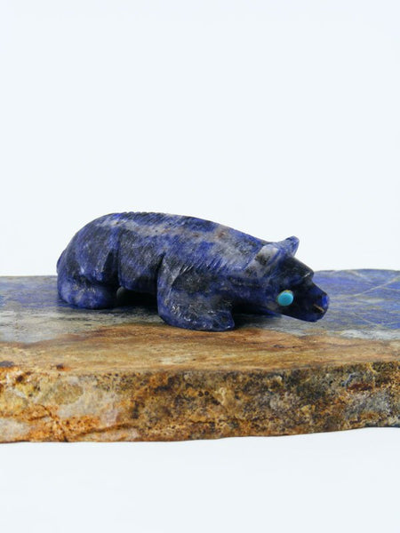 Sodalite Badger Zuni Fetish