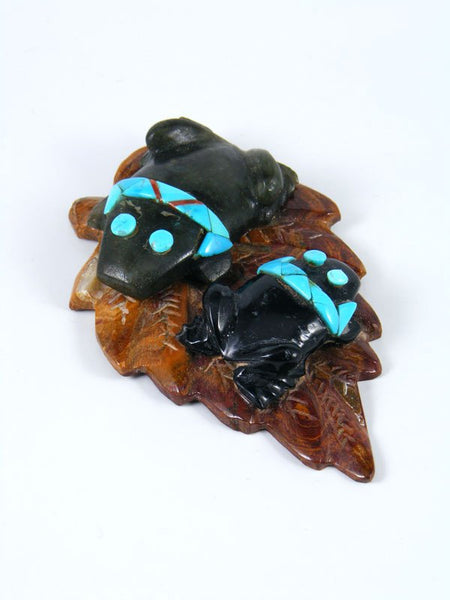 Black Marble Frogs on a Leaf Zuni Fetish