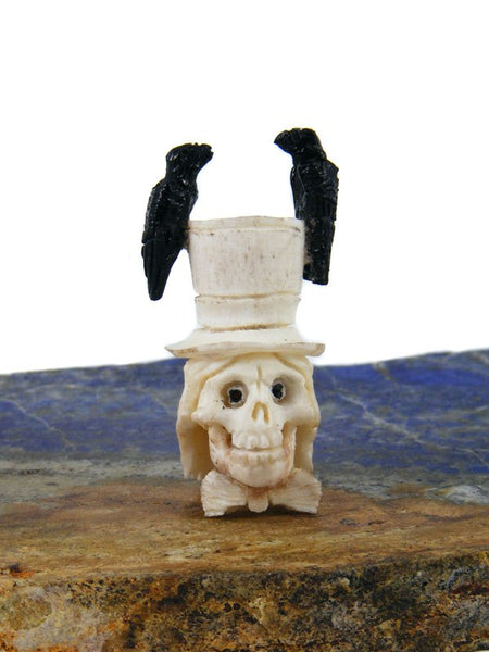 Antler Skeleton Head With Black Crows Zuni Fetish Carving