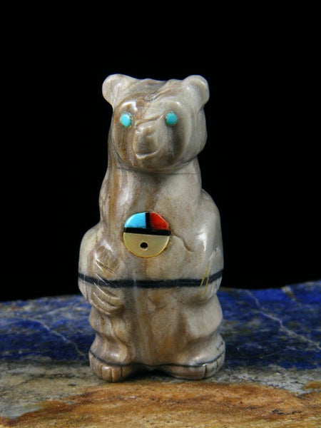 Picasso Marble Bear Zuni Fetish Carving