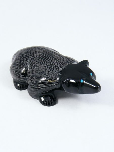 Black Marble Badger Zuni Fetish