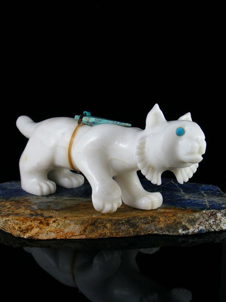 White Marble Bobcat Zuni Fetish