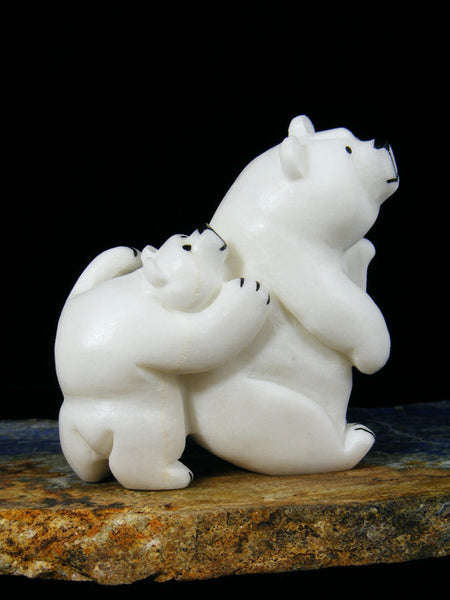 Piggy Back Baby Bear White Marble Zuni Fetish