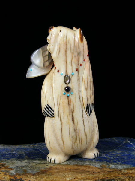 Antler Bear With Eagle Zuni Fetish
